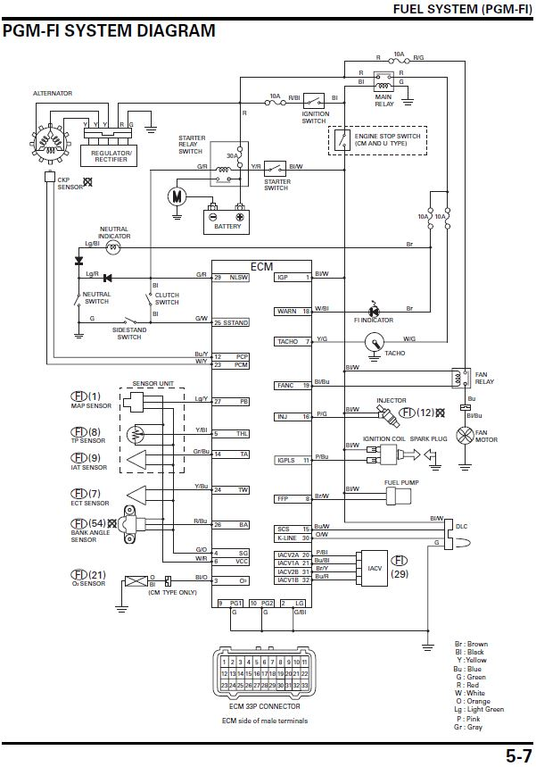 Electronic Fuel Injection Pgm Fi Of The Honda Cbr125r on 12v relay switch wiring diagram