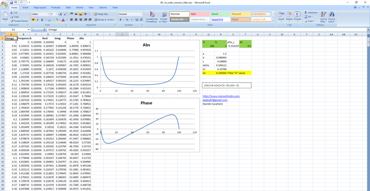 How to calculate a first order IIR filter in 5 minutes