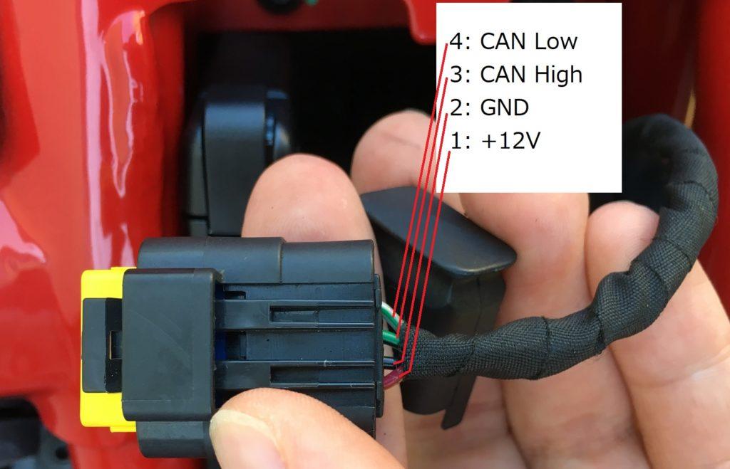 Ducati Monster 797 OBD2 DDA connector pinout